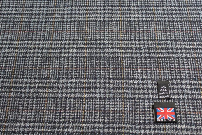 100% Pure New Wool Glen Check Tweed Fabric BZ42